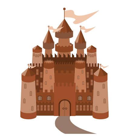 citadel: Fairy-tale castle on white background  Illustration