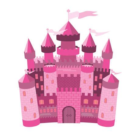 Fairy Tale pink magic castle Vector