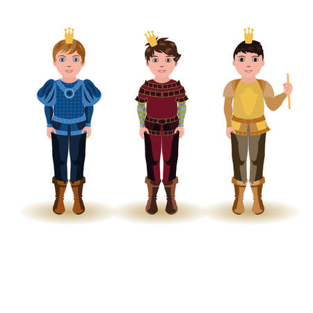 Set cute little prince Vector