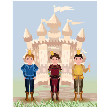 medieval king: Three little prince and fairy tale castle