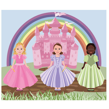 dream house: Three little girls or princesses and fairy tale