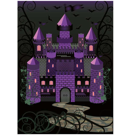 druid: Old witch scary castle background Illustration