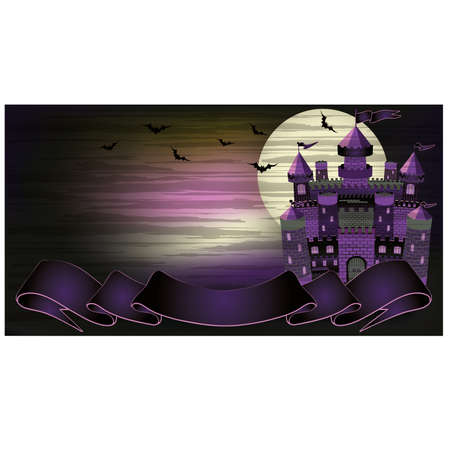 transylvania: Old witch haunted castle banner, illustration  Illustration