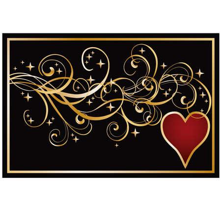 Heart poker banner, illustration Vector