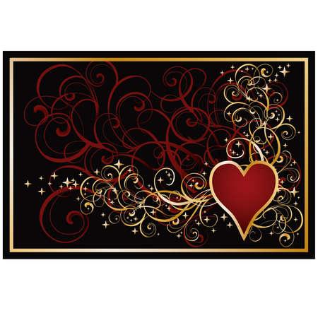 Casino hearts golden card, illustration