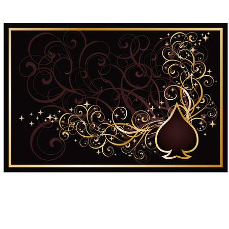 Casino spades golden card, illustration  Vector