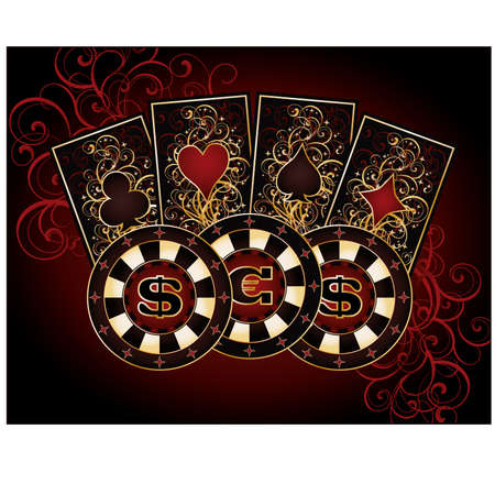 Casino card with poker elements Vector