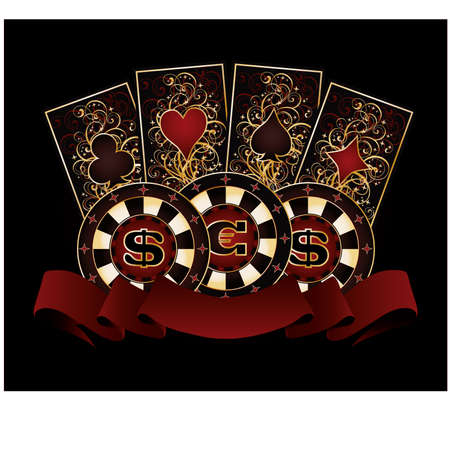 gambler: Casino banner with poker cards and chips