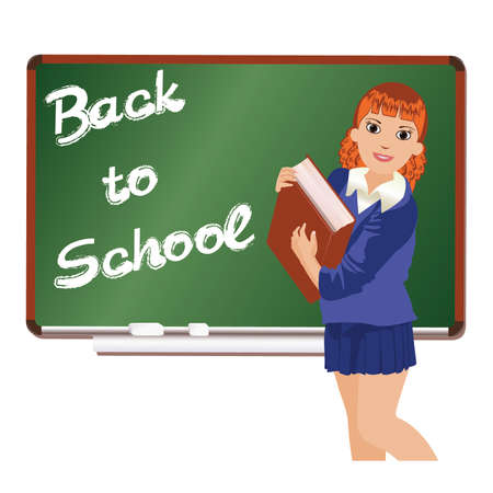 looking away: Back to School  Little schoolgirl with book  vector illustration Illustration