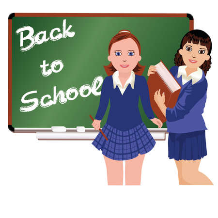 school girl uniform: Back to School  Two schoolgirl   vector illustration