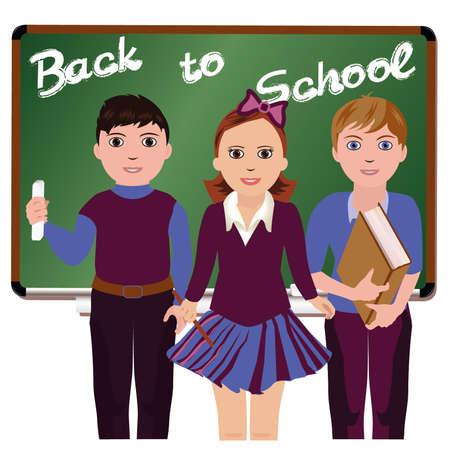 Back to School  Little schoolboys and schoolgirl, vector illustration