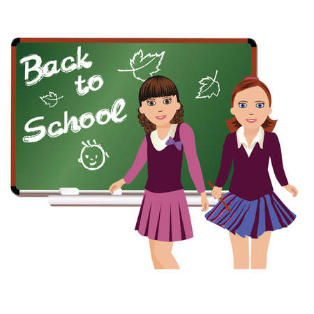 Back to School  Cute little schoolgirls  vector illustration