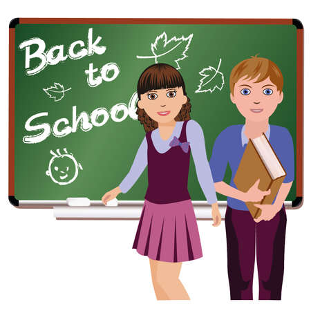 college girl: Back to School  Little cute schoolboy and schoolgirl, vector illustration
