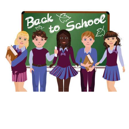 graduacion niños: Volver a la escuelita escolares felices, ilustración vectorial