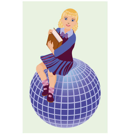 student travel: Back to School   Little  schoolgirl with book and globe  vector illustration Illustration