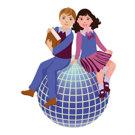 student travel: Back to School  Cute school girl and boy with globe, vector illustration