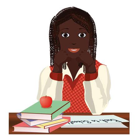 Back to School  Little  schoolgirl with apple, vector illustration