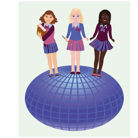 african girls: Back to school  Little school girls and globe