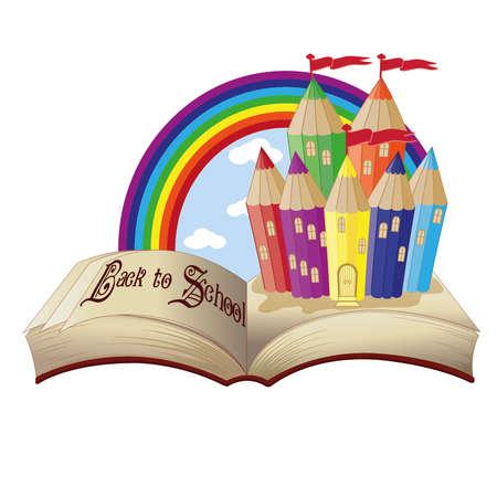 Back to School  Magic book and fabulous school castle, vector illustration Vector