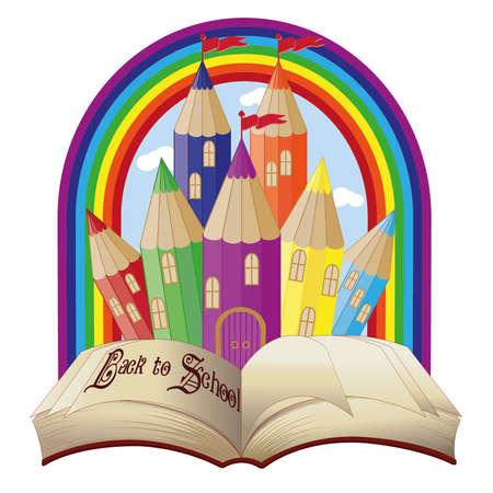 preschool teacher: Back to school  Elegant magical fairy tale castle vector