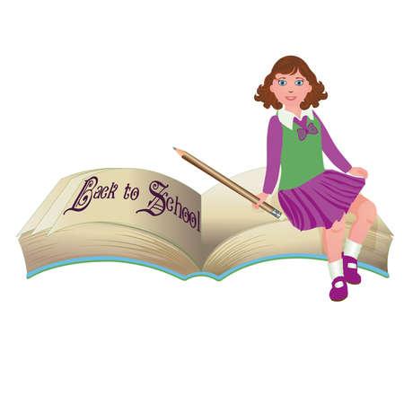 preschool teacher: Back to School.  Cute schoolgirl with old book.