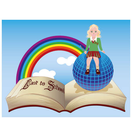 junior: Back to School.  Little schoolgirl with globe and old book. Illustration