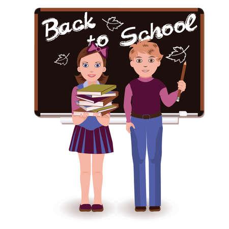 Back to School  Little cute schoolkids, vector illustration