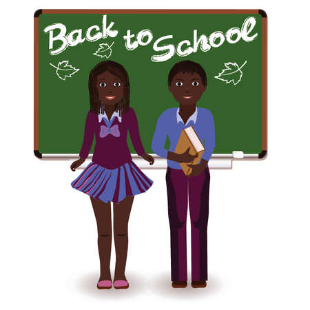 Back to School  Little schoolkids, vector  Vector