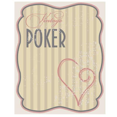Vintage poker card hearts, vector illustration Vector