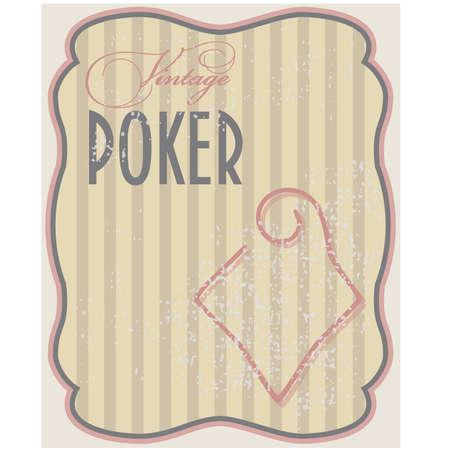 paperboard: Vintage poker card diamonds, vector illustration Illustration