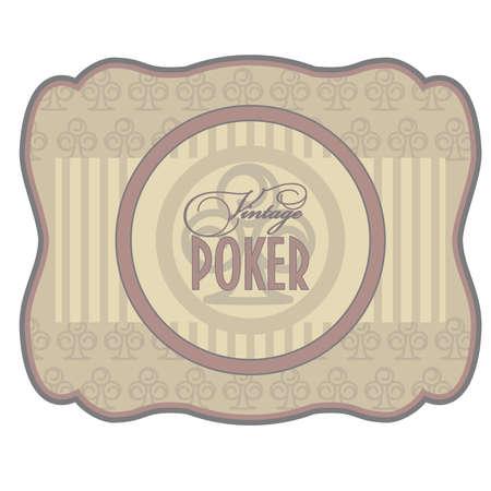 paperboard: Vintage poker clubs label, vector illustration