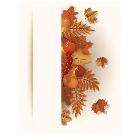 Seasonal autumn banner, vector illustration