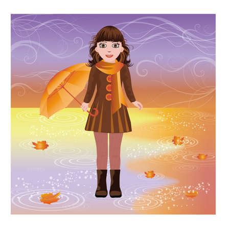 wellies: Little girl with umbrella, autumn card, vector illustration