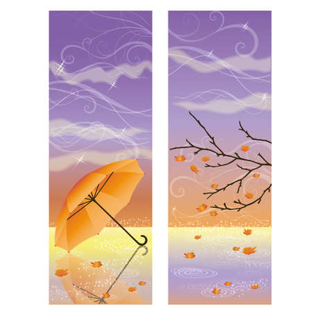 Autumn banners with umbrella illustration Vector