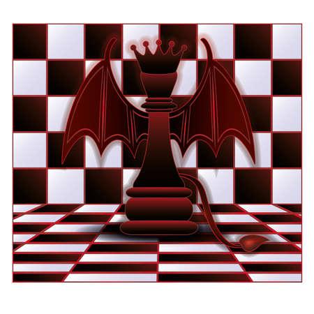 Chess Queen devil  vector illustration Vector