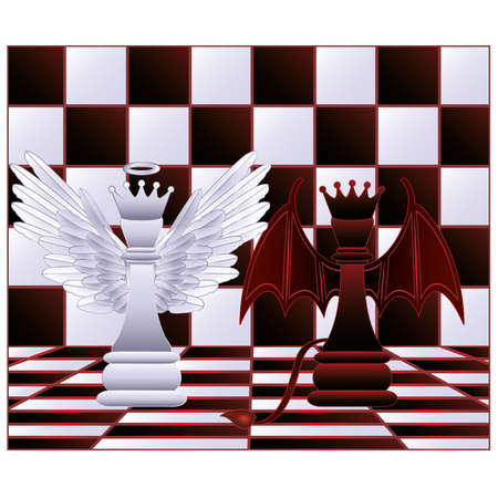 queen of angels: Chess Queen angel and devil  vector illustration
