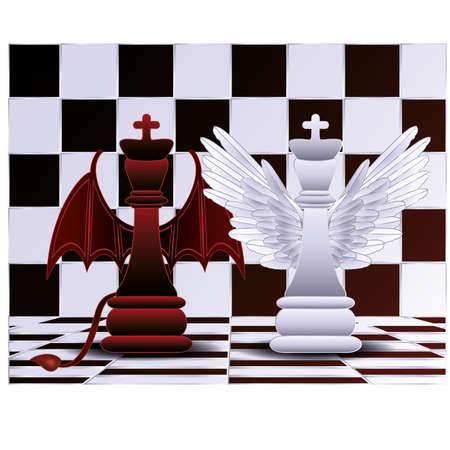 teufel und engel: Schach-König Engel und Teufel Vektor-Illustration Illustration