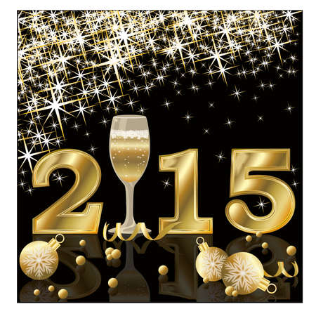 Happy 2015 New Year with champagne, vector illustration Vector