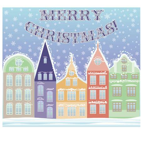Happy Marry Christmas winter city postcard, vector illustration Vector