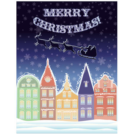 Happy Merry Christmas background with Santa Claus, vector illustration Vector