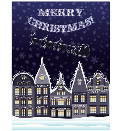 Merry Christmas card with Santa Claus and reindeer fly, vector illustration Vector