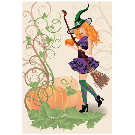 provocative: Beautiful witch and pumpkin, halloween card.