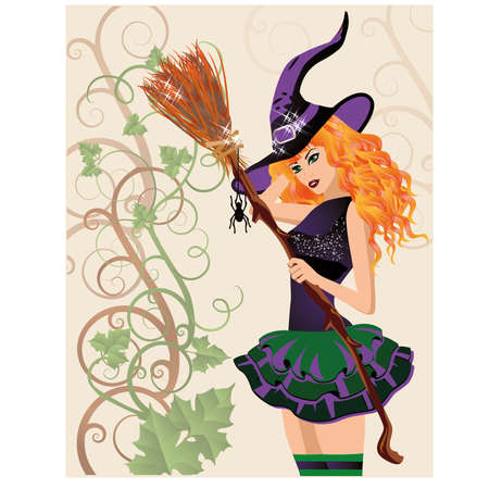 provocative: Beautiful witch and spider, halloween card.