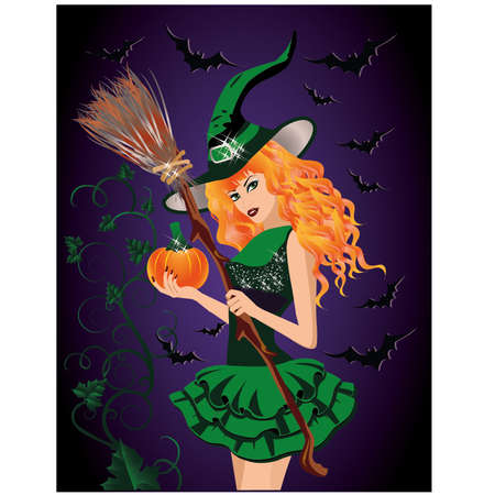 sexy brunette woman: Sexy witch and pumpkin, halloween card.