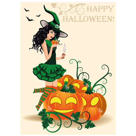 sexy costume: Happy Halloween card. Young witch and pumpkins, vector illustration