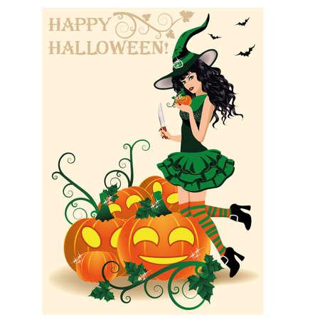 Happy Halloween card. Witch and pumpkins, vector Vector
