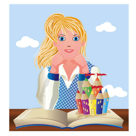 secondary: Back to School. Cute little schoolgirl with book and castle, vector illustration