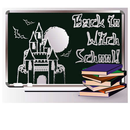 Back to Witch School. Invitation magic card, vector Vector