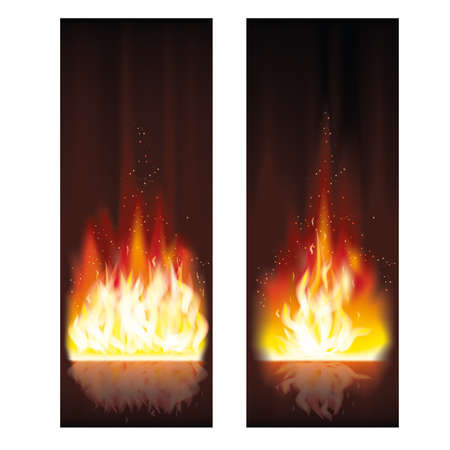 Fire flame banners illustration Illustration