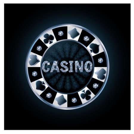 poker chip: Diamond casino poker chip, vector illustration